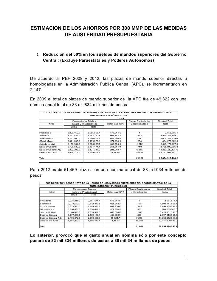 ESTIMACION DE LOS AHORROS POR 300 MMP DE LAS MEDIDAS           DE AUSTERIDAD PRESUPUESTARIA   1. Reducción del 50% en los ...