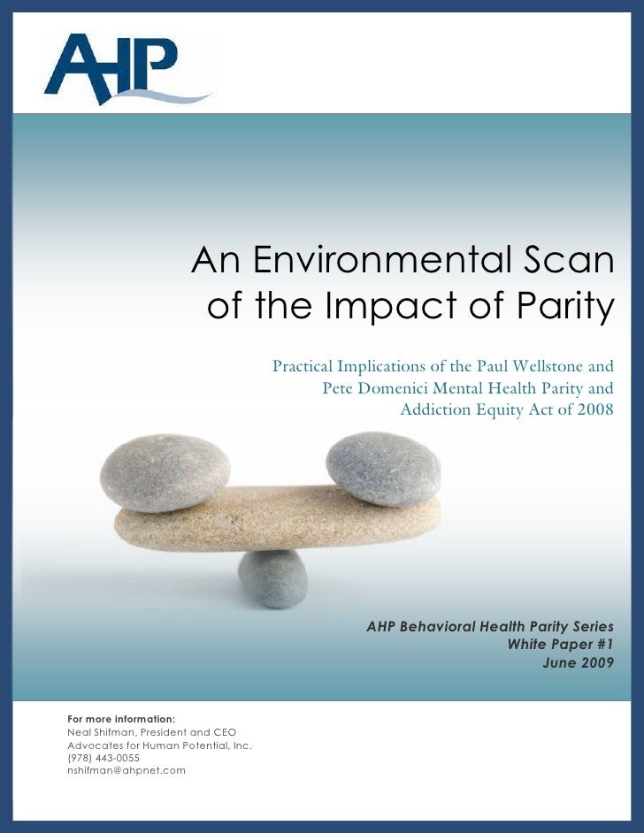 Background   1                            An Environmental Scan                         of the Impact of Parity           ...