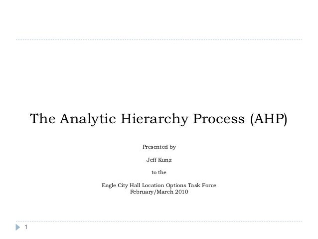 The Analytic Hierarchy Process (AHP)                             Presented by                              Jeff Kunz      ...
