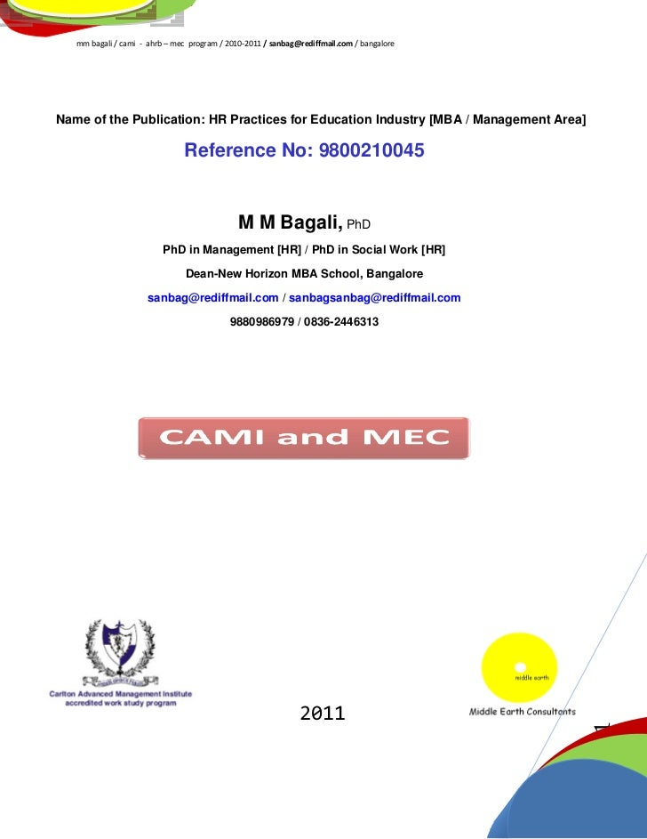 MM Bagali, PhD, HRM Project for MBA Institute