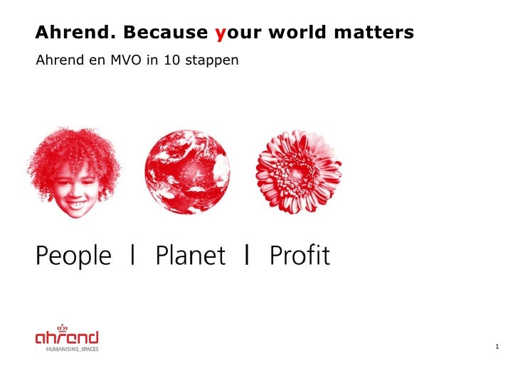 Ahrend. Because  y our world matters Ahrend en MVO in 10 stappen