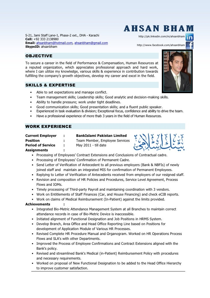 Hr Resume Examples - Template