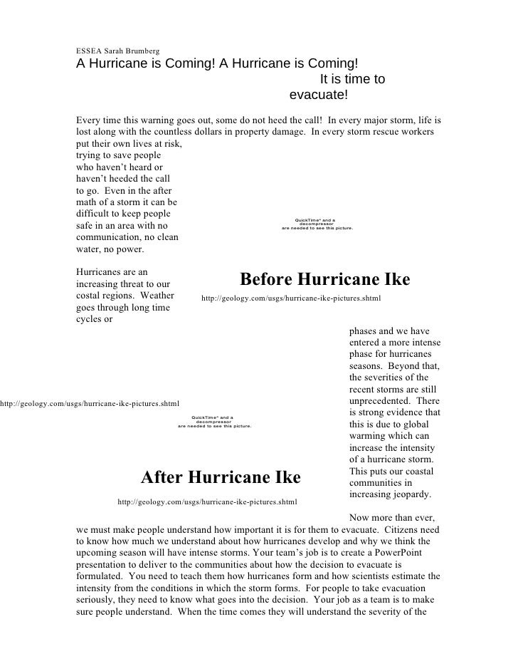 A Hurricane Is Coming Assignment