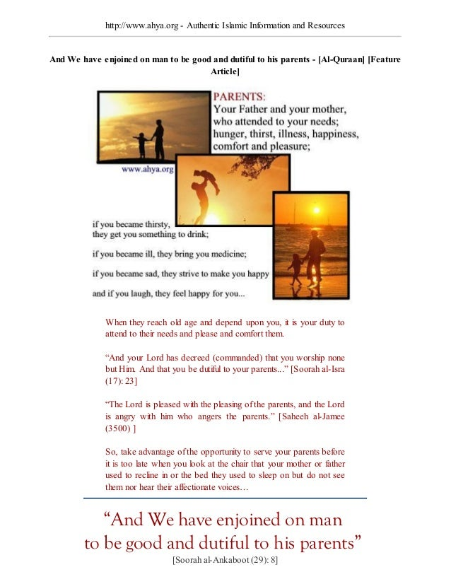 http://www.ahya.org - Authentic Islamic Information and ResourcesAnd We ha e enjoined on man o be good and d if l o hi pa ...