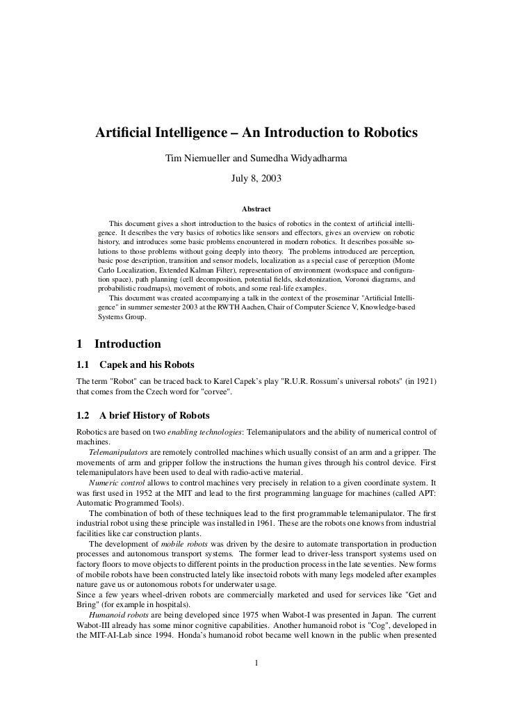 Artificial Intelligence – An Introduction to Robotics                            Tim Niemueller and Sumedha Widyadharma    ...
