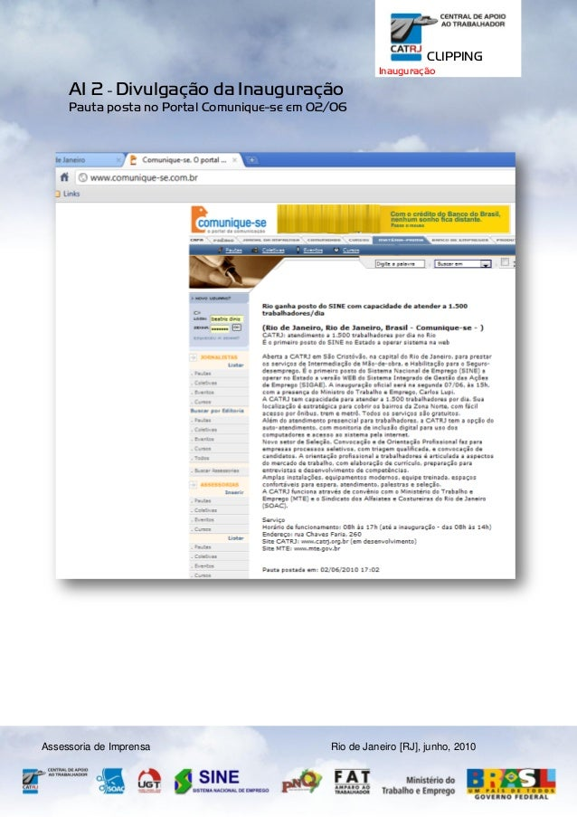 CLIPPING Inauguração  AI 2 - Divulgação da Inauguração Pauta posta no Portal Comunique-se em 02/06  Assessoria de Imprensa...