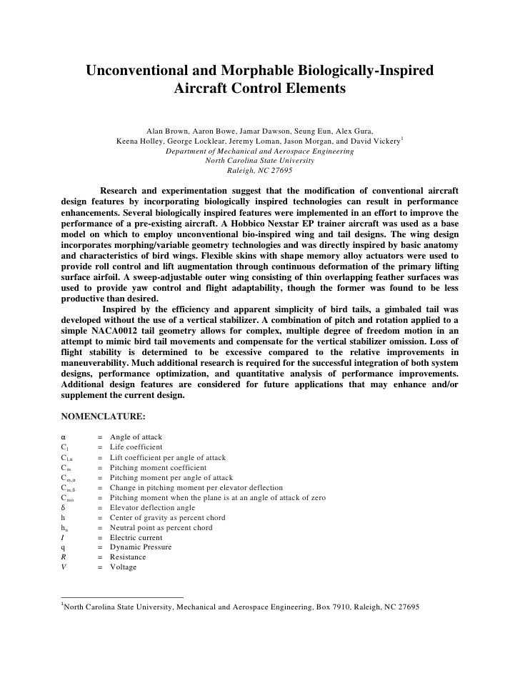 Unconventional and Morphable Biologically-Inspired                    Aircraft Control Elements                       Alan...