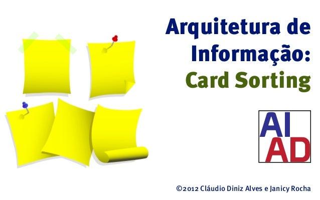Arquitetura de  Informação:  Card Sorting ©2012 Cláudio Diniz Alves e Janicy Rocha