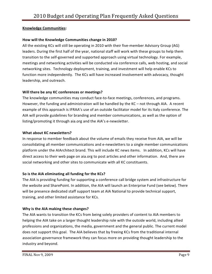 AIA National FAQs Regarding Knowledge Communities In Its 2010 Plan   11 10 09