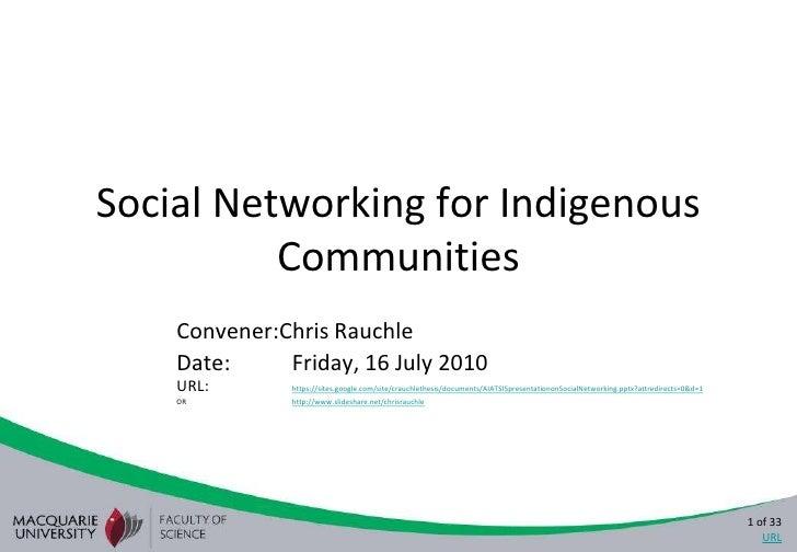 Aiatsis presentation on social networking