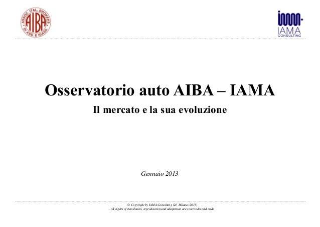 Osservatorio auto AIBA – IAMA      Il mercato e la sua evoluzione                               Gennaio 2013              ...