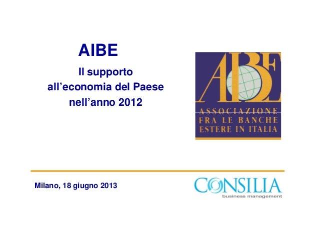 AIBEIl supportoall'economia del Paesenell'anno 2012Milano, 18 giugno 2013
