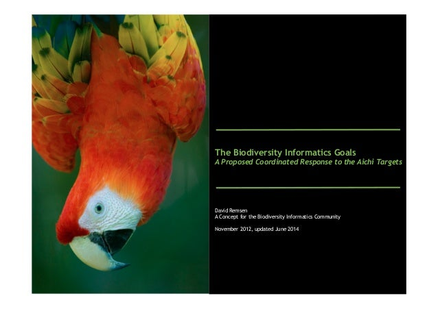 The Biodiversity Informatics Goals A Proposed Coordinated Response to the Aichi Targets David Remsen A Concept for the Bio...