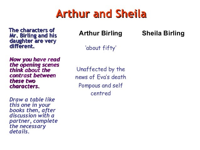 monlogue of sheila birling Relationship of sheila birling and gerald croft reading for comparison what differences can you see between improvise a monologue based on eric's.