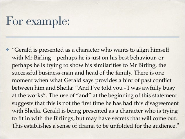 An inspector calls act one essay