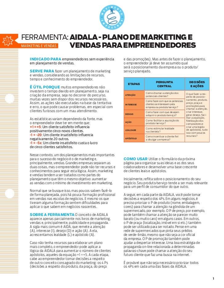 ferramenta: aidala - PLANO DE MARKETING EMarketing e Vendas VENDAS PARA EMPREENDEDORES  INDICADO PARA empreendedores sem e...