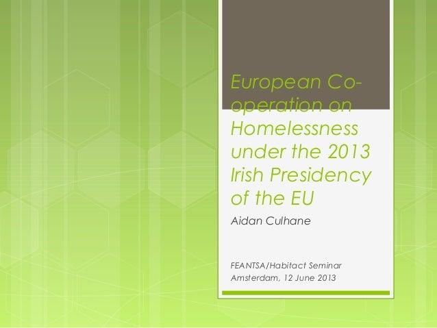 European Co-operation onHomelessnessunder the 2013Irish Presidencyof the EUAidan CulhaneFEANTSA/Habitact SeminarAmsterdam,...