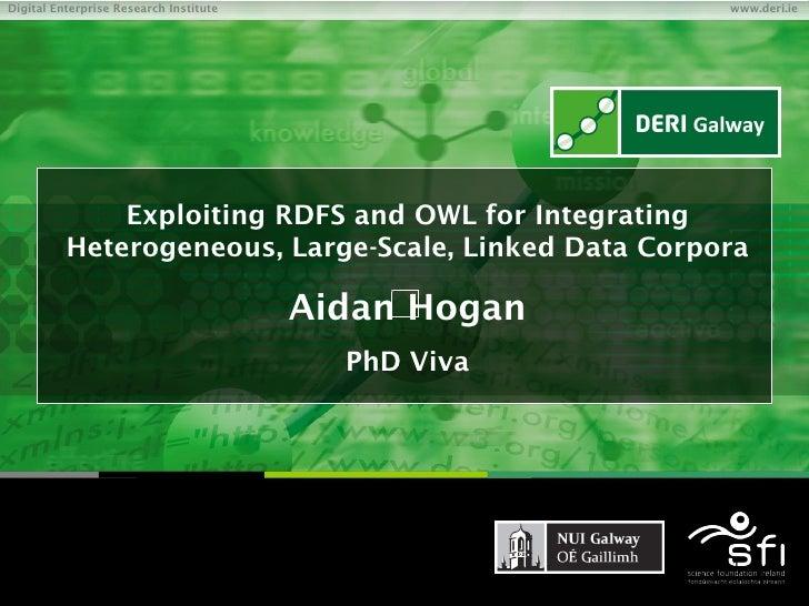 Exploiting RDFS and OWL for Integrating Heterogeneous, Large-Scale, Linked Data Corpora Aidan Hogan PhD Viva
