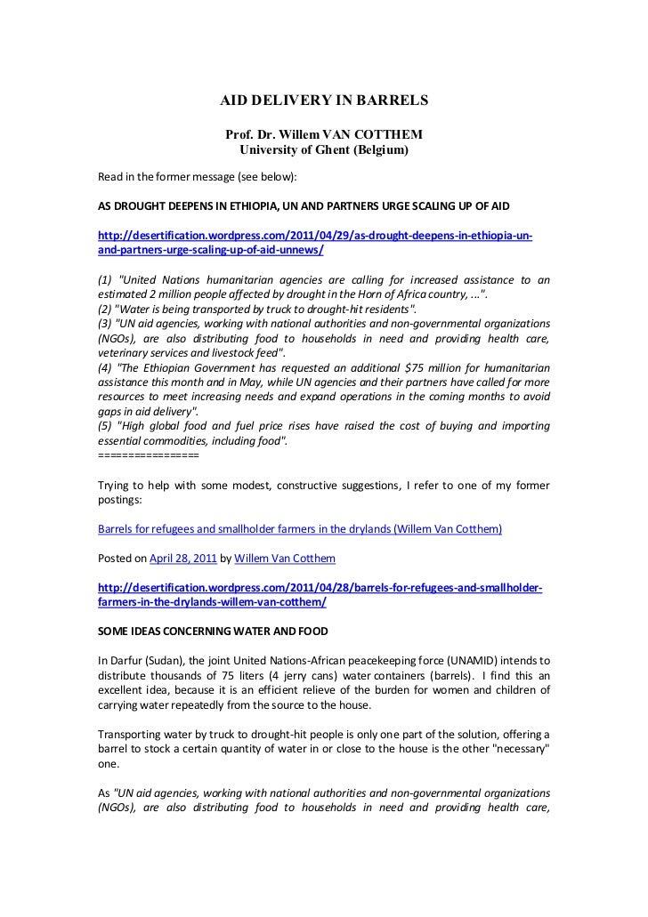 AID DELIVERY IN BARRELS<br />Prof. Dr. Willem VAN COTTHEM<br />University of Ghent (Belgium)<br />Read in the former messa...
