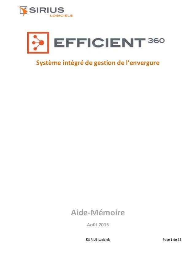 ©SIRIUS Logiciels Page 1 de 52 Système intégré de gestion de l'envergure Aide-Mémoire Août 2015