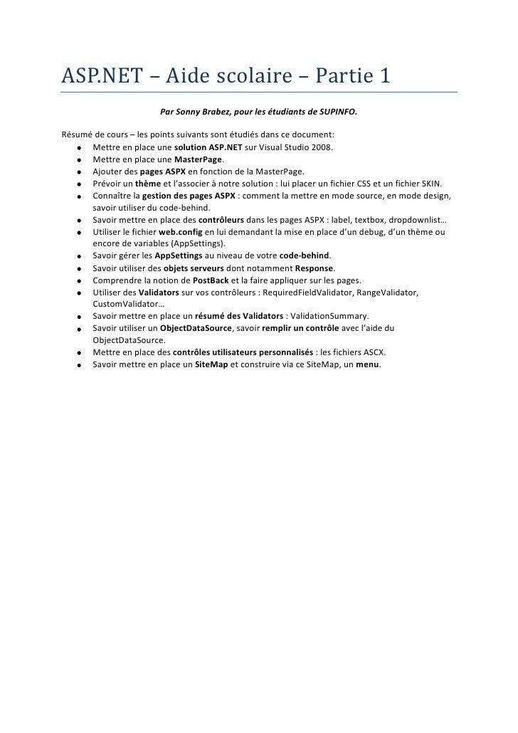 ASP.NET Part 1 - Aide scolaire - 2009 - FR