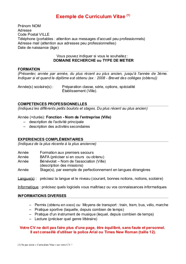 Connu exemple cv stage pratique bafa - CV Anonyme FU46