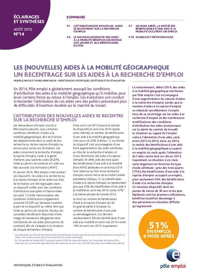 LES (NOUVELLES) AIDES À LA MOBILITÉ GÉOGRAPHIQUE UN RECENTRAGE SUR LES AIDES À LA RECHERCHE D'EMPLOI P.1 L'ATTRIBUTION DES...