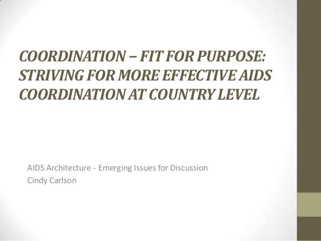 COORDINATION − FIT FOR PURPOSE: STRIVING FOR MORE EFFECTIVE AIDS COORDINATION AT COUNTRY LEVEL  AIDS Architecture - Emergi...