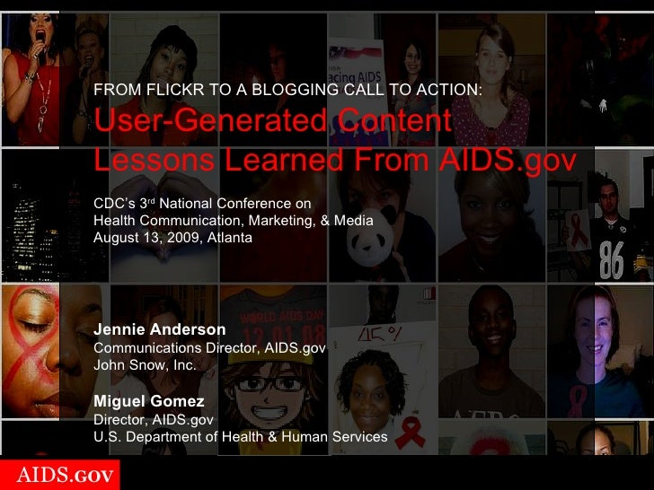 AIDS.gov's User-Generated Content Presentation for CDC's National Conference on Health Communication, Marketing, and Media 2009
