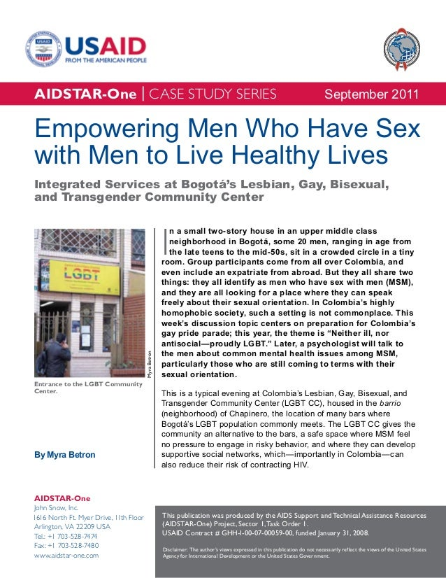 AIDSTAR-One Empowering Men Who Have Sex with Men to Live Healthy Lives in Colombia