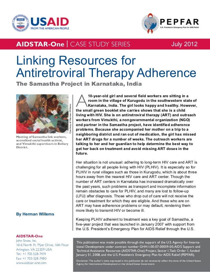AIDSTAR-One Case Study: Linking Resources for ART Adherence