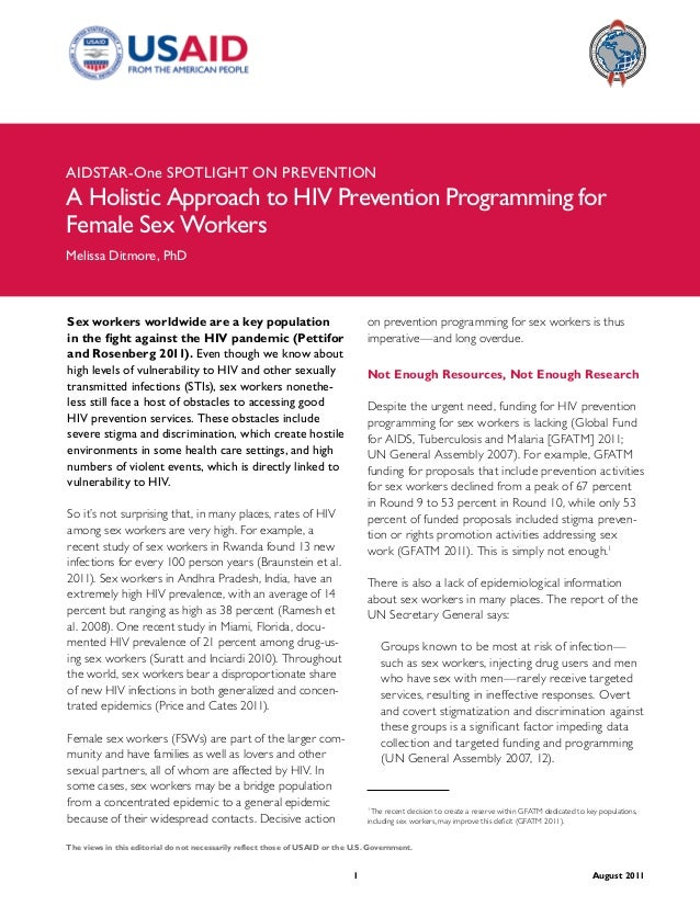 AIDSTAR-One A Holistic Approach to HIV Prevention Programming for Female Sex Workers