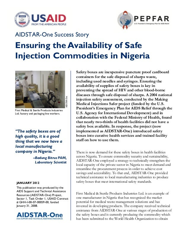 AIDSTAR-One Success StoryEnsuring the Availability of SafeInjection Commodities in Nigeria                                ...