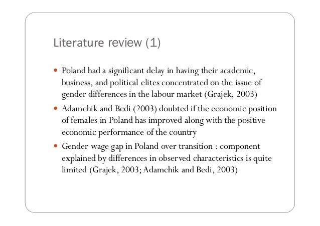 Literature review on gender pay gap