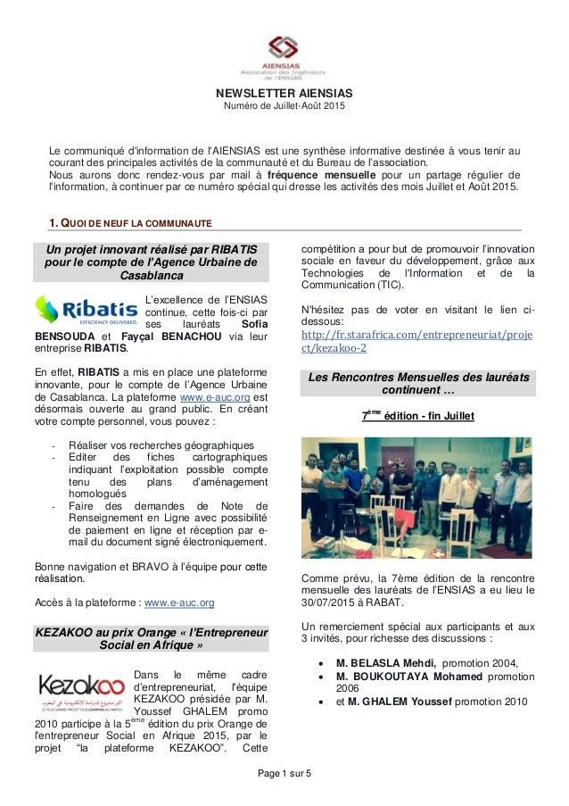 Page 1 sur 5 NEWSLETTER AIENSIAS Numéro de Juillet-Août 2015 Le communiqué d'information de l'AIENSIAS est une synthèse in...