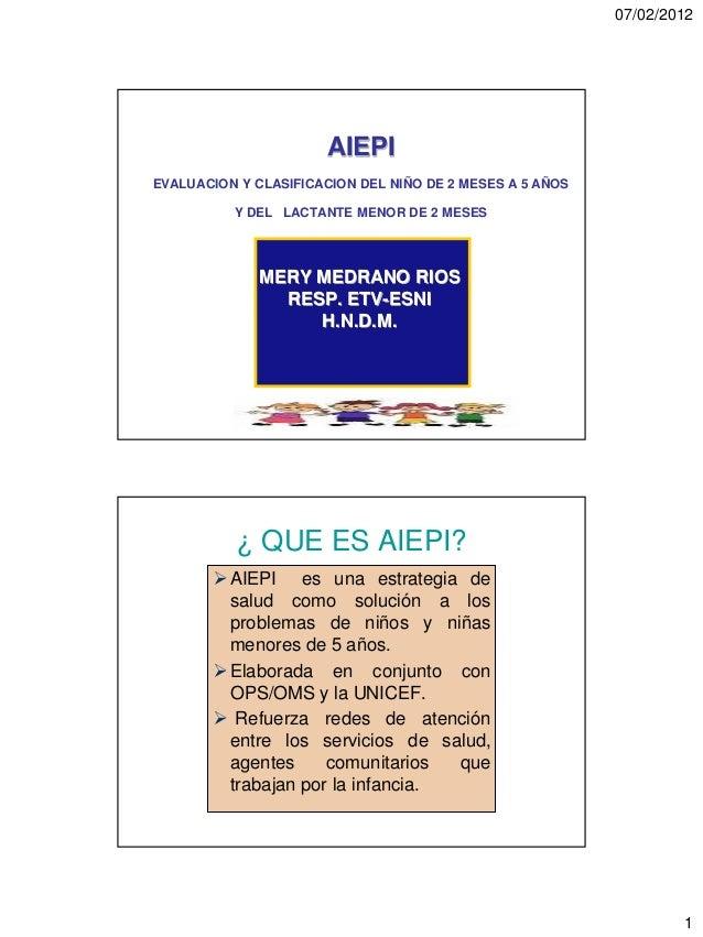 07/02/2012                       AIEPIEVALUACION Y CLASIFICACION DEL NIÑO DE 2 MESES A 5 AÑOS          Y DEL LACTANTE MENO...