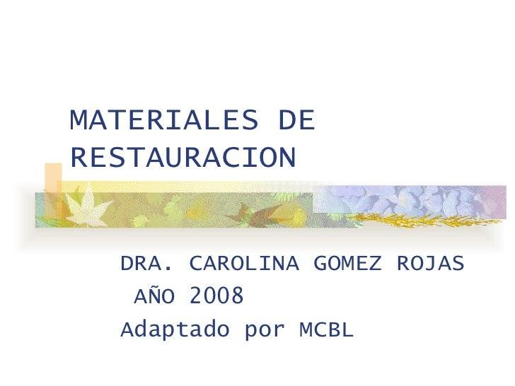 Materiales de Restauración Odontológica
