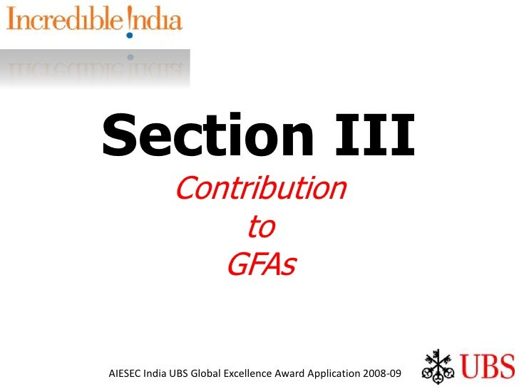 Section III Contribution to GFAs<br />
