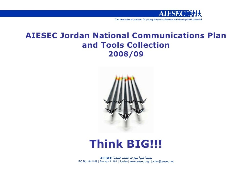 AIESEC Jordan National Communications Plan             and Tools Collection                                  2008/09      ...