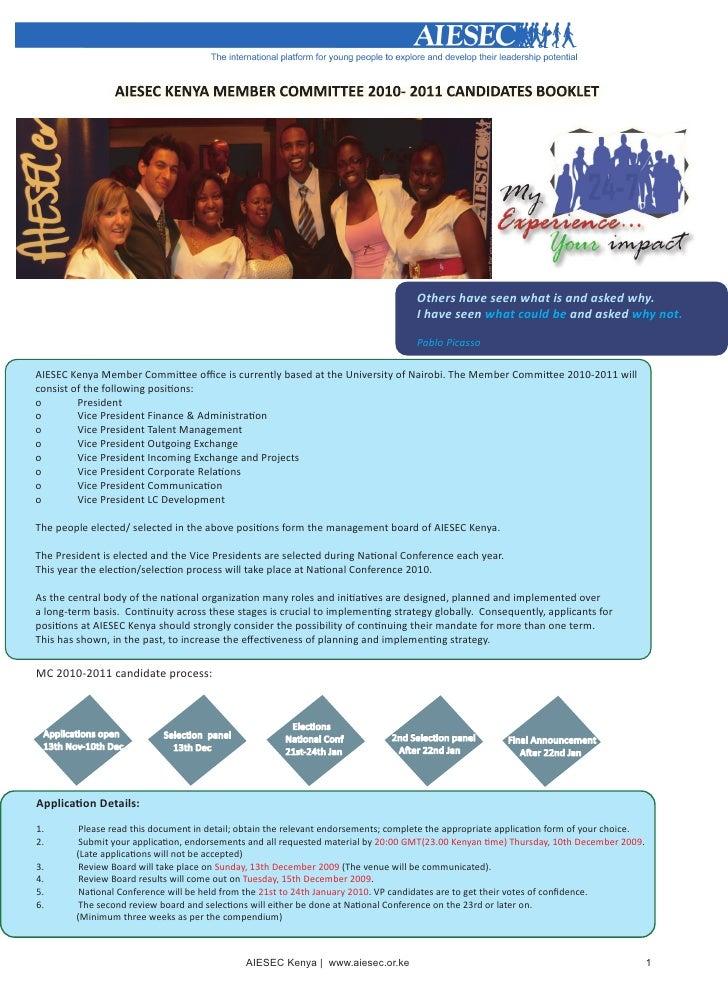 AIESEC Kenya MC 2010-2011 Candidates Booklet