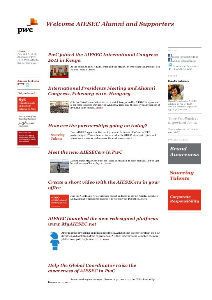 AIESEC Connect Newsletter Oct 2011 for Alumni and Supporters at PwC - part 1