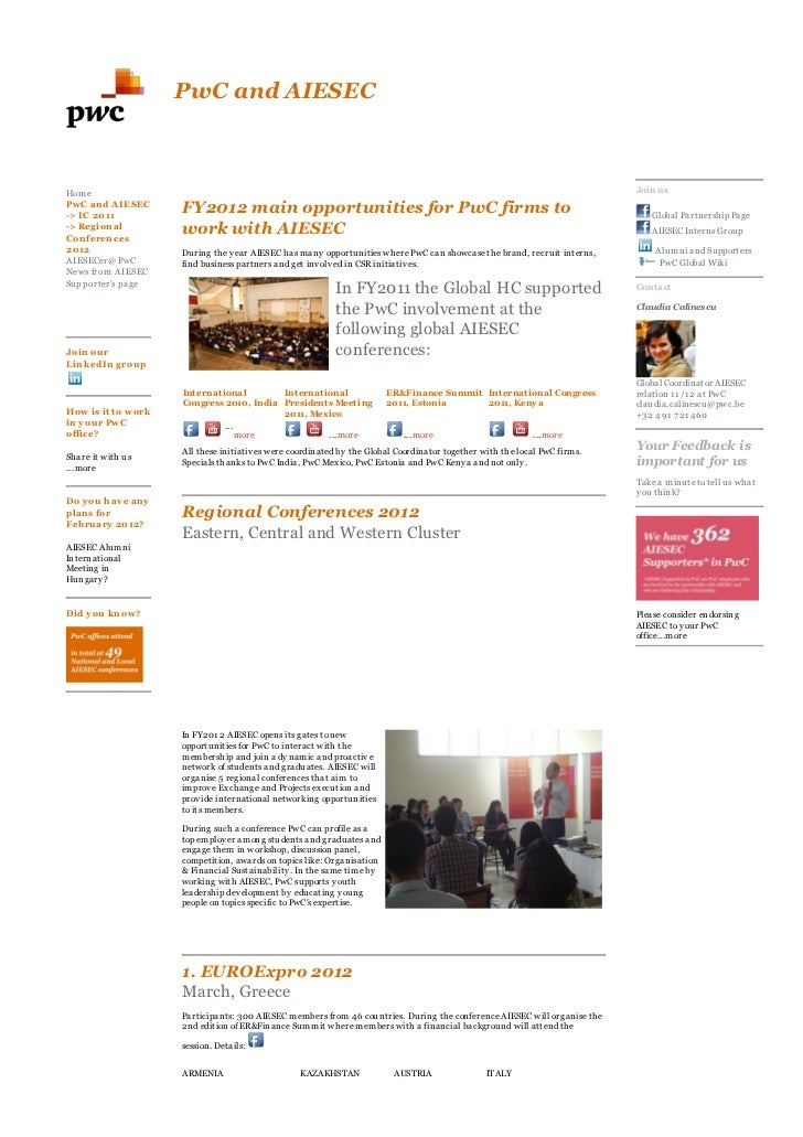 AIESEC Connect Newsletter Oct 2011 for Alumni and Supporters at PwC - part 3