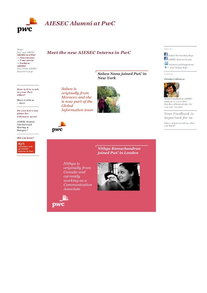 AIESEC Alumni at PwCHom e                                                    Join usPwC and AIESECAIESECer@PwC            ...