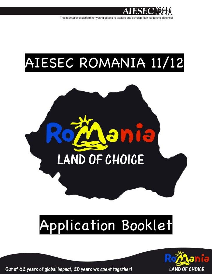AIESEC ROMANIA 11/12                              Application Booklet