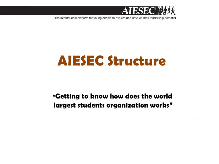 """AIESEC Structure<br />""""Getting to know how does the world largest students organization works""""<br />"""