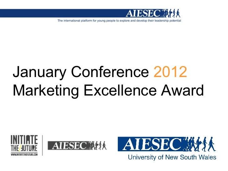 AIESEC UNSW - JanCon 2012 Marketing Award