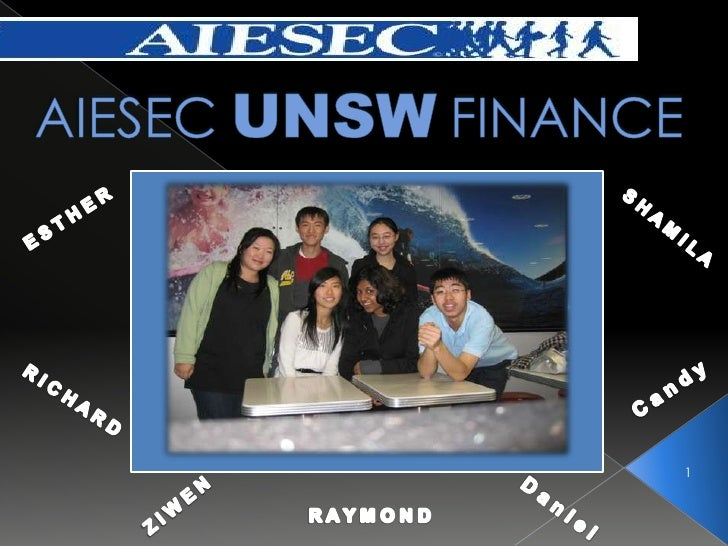 Aiesec Unsw Finance Award Application July 2009