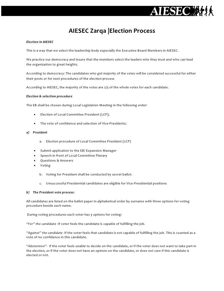 AIESEC Zarqa- election procedure
