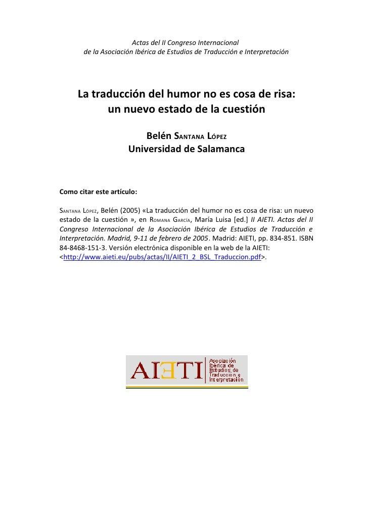 Actas del II Congreso Internacional       de la Asociación Ibérica de Estudios de Traducción e Interpretación     La tradu...