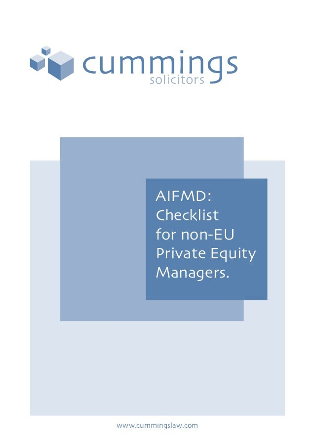 Aifmd checklist for non eu private equity managers - cummings final